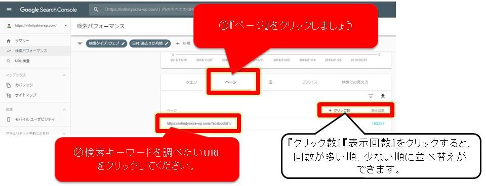 Googleサーチコンソールでインデックスされている記事から検索キーワードを調べる手順