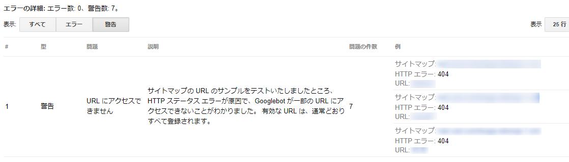 Googleサーチコンソールのサイトマップ警告画面