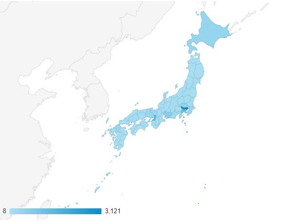 Googleアナリティクスで都道府県別のアクセスを地図で確認