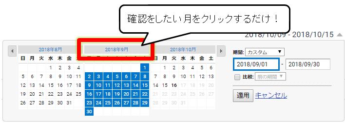 Googleアナリティクスで期間を月単位で指定している画面