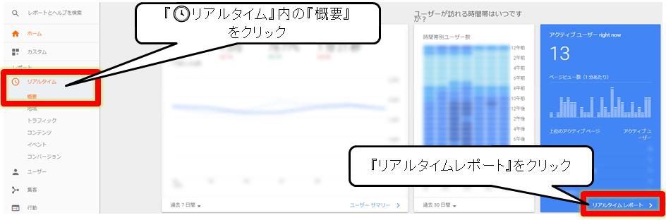 Google Analytics(アナリティクス)リアルタイムレポートへのアクセス手順