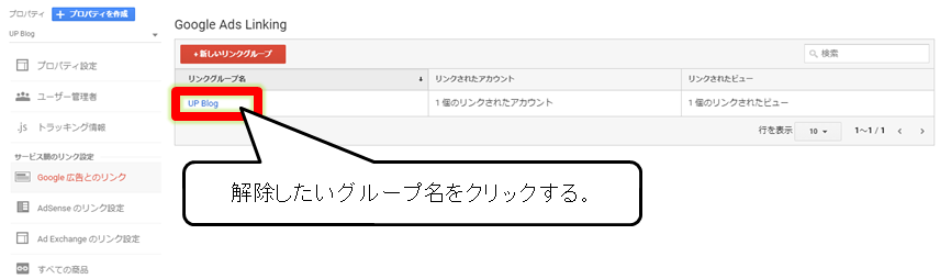 Googleアナリティクスの管理画面でGoogle広告とのリンクを削除する画面