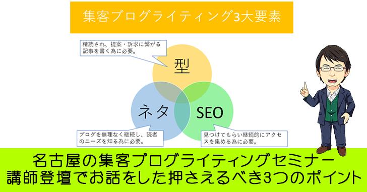 名古屋の集客ブログライティングセミナー講師登壇でお話をした押さえるべき3つのポイントとは